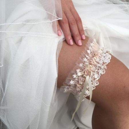 Rhapsody Blush Silk and Ivory Tulle Vintage Lace Garter with Rose Detail