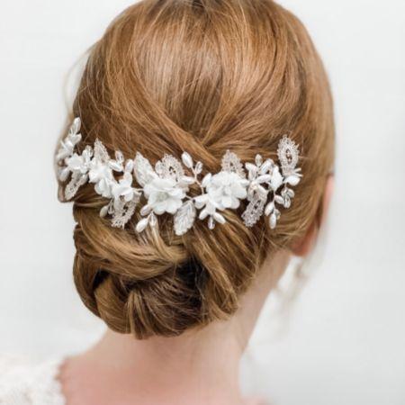 Sabrina Beaded Leaves and Opal Crystal Flowers Hair Vine