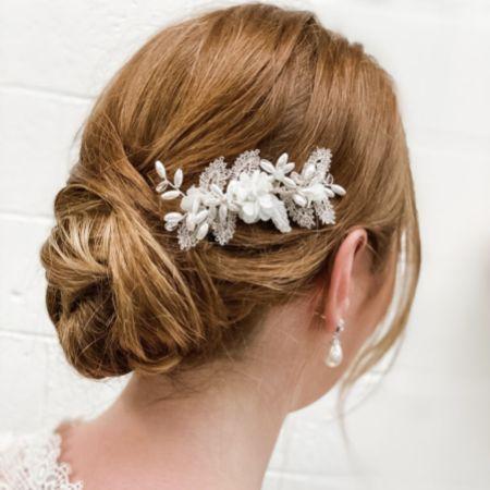 Sabrina Mini Beaded Leaves and Opal Crystal Flowers Hair Comb