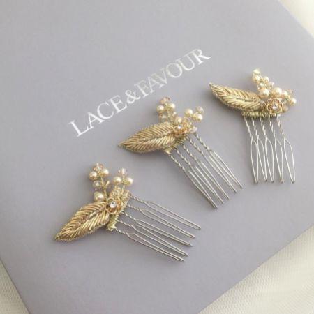 Saskia Trio of Champagne Gold Leaf Mini Combs