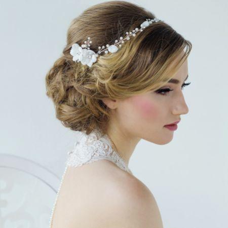 SassB Anais Bohemian Chic Floral Bridal Headpiece (Silver)