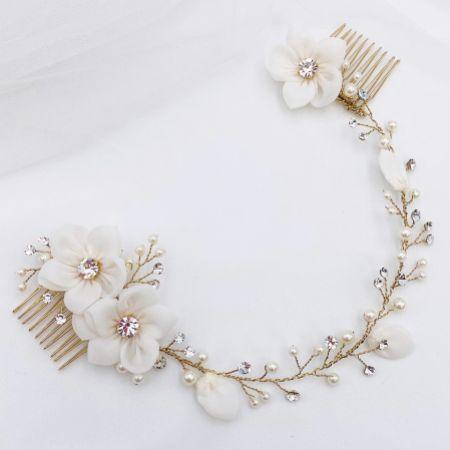 SassB Anais Chic Bohemian Floral Bridal Headpiece (Gold)
