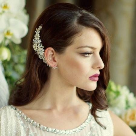 SassB Chloe Pearl and Crystal Floral Bridal Hair Comb
