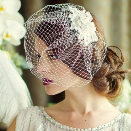 SassB Couture Crystal Embellished Floral Bridal Birdcage Veil (Silver)