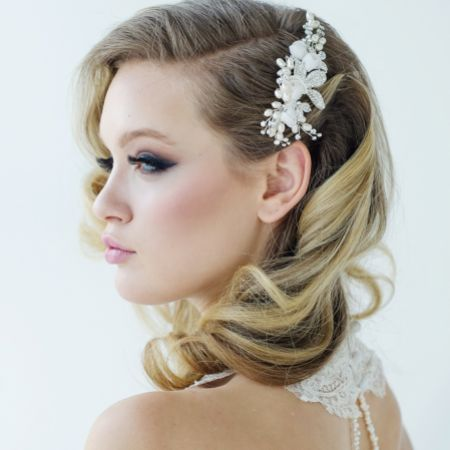 SassB Freya Luxe Floral Pearl and Diamante Wedding Hair Comb
