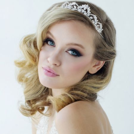 SassB Lavina Silver Vintage Inspired Crystal Embellished Wedding Tiara