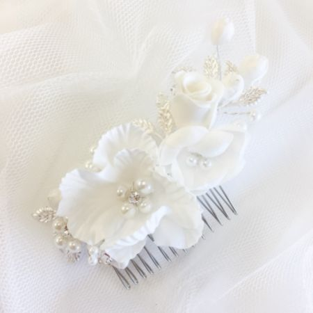 SassB Luisa Flowers and Leaves Bridal Hair Comb