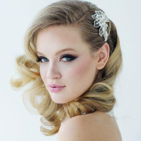 SassB Mia Pearl and Crystal Leaves Bridal Hair Clip