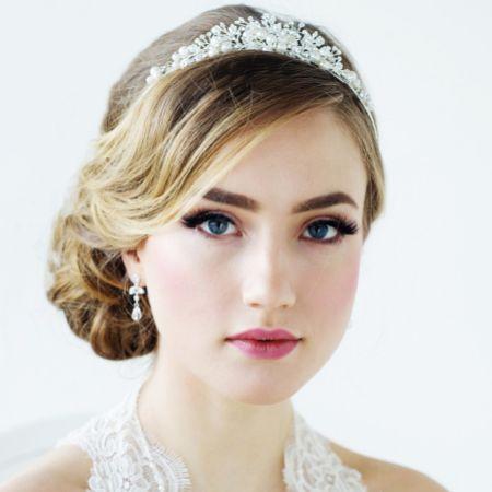 SassB Tess Silver Pearl and Crystal Wedding Tiara
