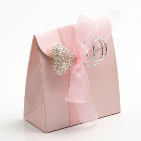 Satin Pink Sacchetto Favour Box - Pack of 10