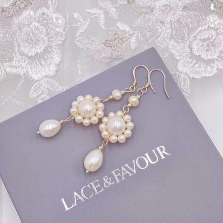 Selaina Floral Freshwater Pearl Chandelier Earrings
