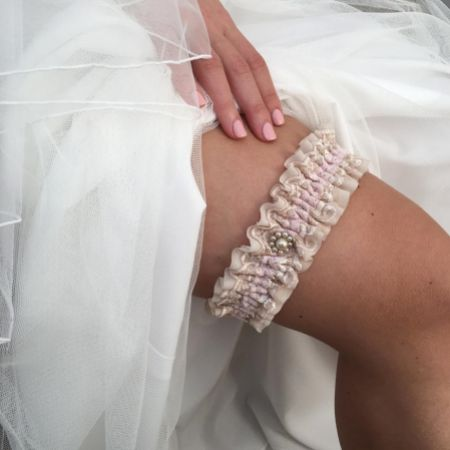 Serenity Nude Lace Vintage Wedding Garter with Pearl Trim