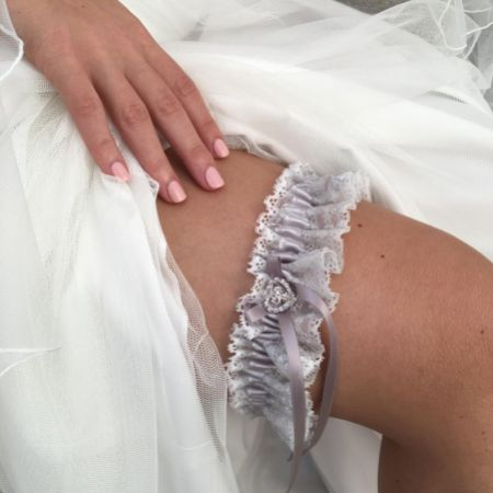 Surrender Silver Satin and Lace Garter with Crystal Heart and Bow Detail