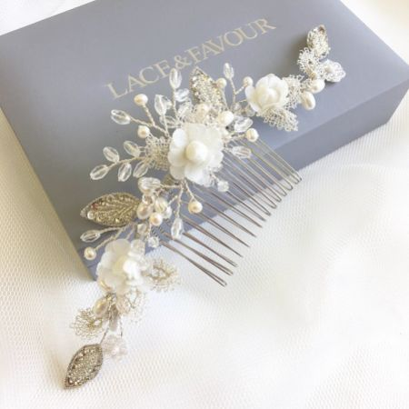 Tabitha Silver Leaves and Ivory Flowers Pearl Hair Comb
