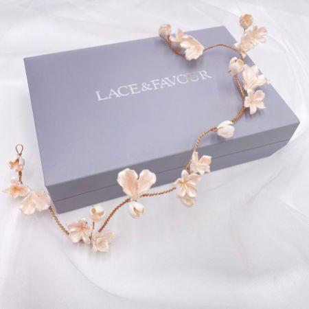Tahiti Blush Porcelain Flowers Wedding Hair Vine