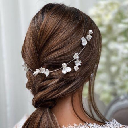 Tahiti Ivory Porcelain Flowers Wedding Hair Vine