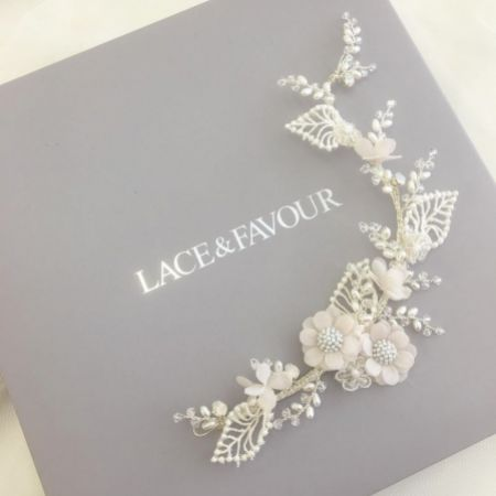 Tallulah Blush Flowers and Ivory Lace Leaves Wedding Hair Vine