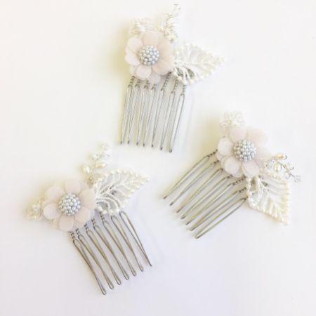 Tara Set of 3 Ivory and Blush Flower Mini Combs