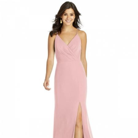 Thread by Dessy Criss Cross Back Wrap Bridesmaid Dress with Slit TH009