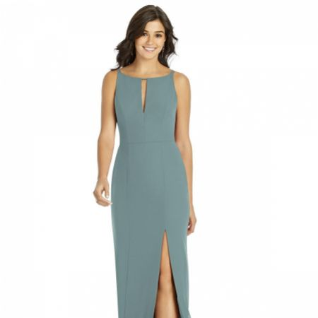 Thread by Dessy Keyhole Neck Bridesmaid Dress with Front Slit TH003