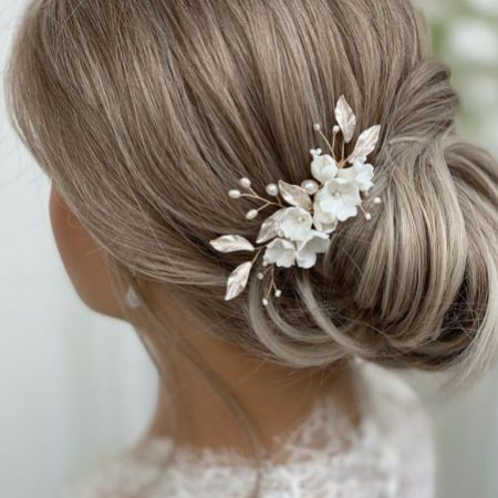 Tulippa Porcelain Flowers and Champagne Gold Leaves Hair Comb
