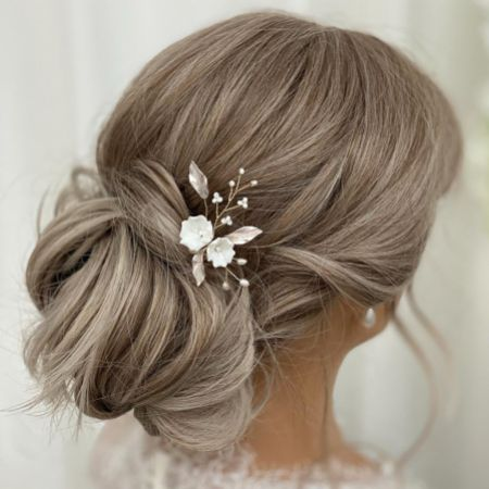 Tulippa Porcelain Flowers and Champagne Gold Leaves Hair Pin