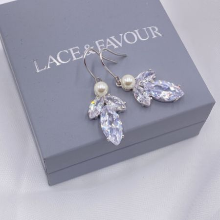 Vermont Silver Pearl and Crystal Drop Earrings