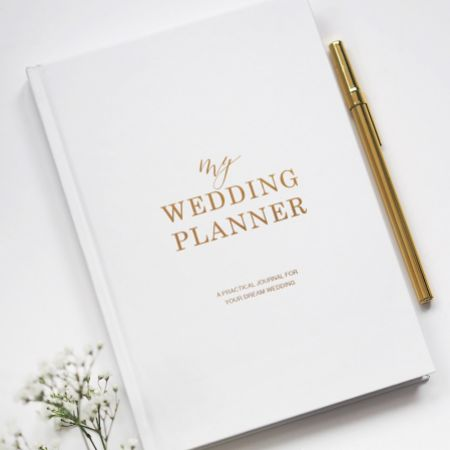 White and Gold Luxury Wedding Planner Book
