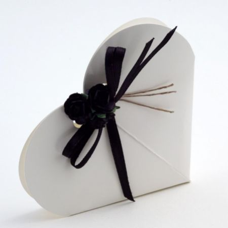 White Glossy Heart Favour Box - Pack of 10