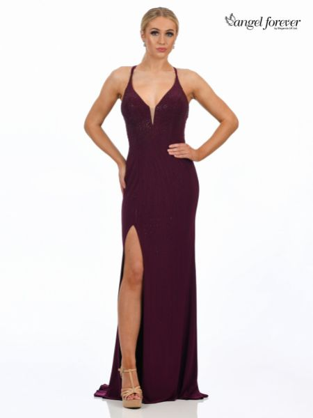 Angel Forever Diamante Embellished Backless Fitted Prom Dress with Slit (Wine)