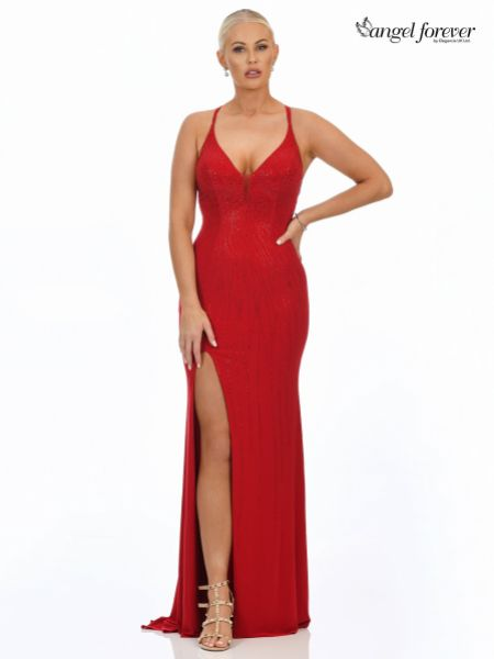Angel Forever Diamante Embellished Fitted Prom Dress with Slit (Dark Red)