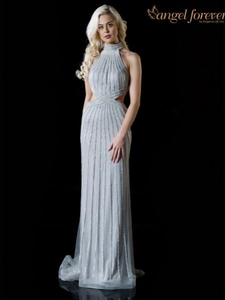 Angel Forever Diamante High Neck Fitted Prom Dress with Cut Outs (Silver)