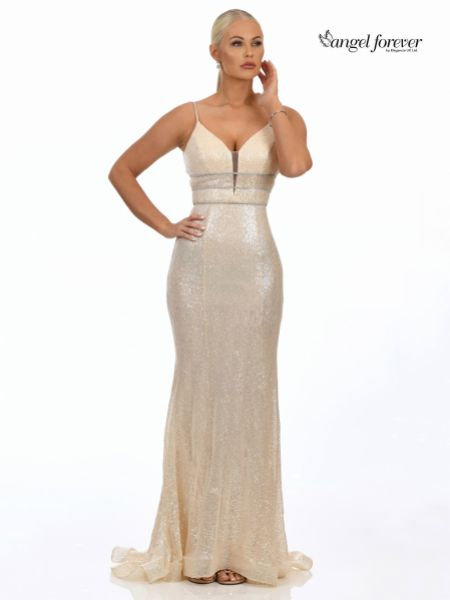 Angel Forever Fitted Sequin Prom Dress with Diamante Detail (Gold)