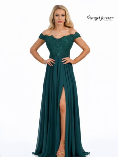 Angel Forever Off The Shoulder Chiffon Prom Dress with Lace Bodice (Emerald)