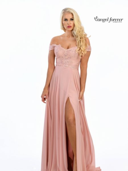 Angel Forever Off The Shoulder Chiffon Prom Dress with Lace Bodice (Rosewood)