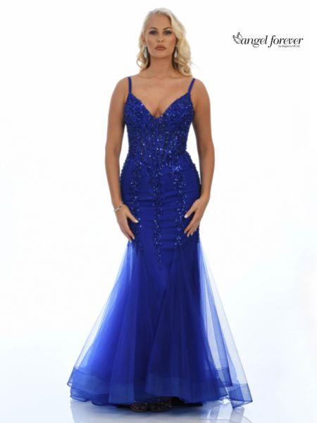 Angel Forever Sequin Embellished Corset Mermaid Prom Dress (Royal Blue)