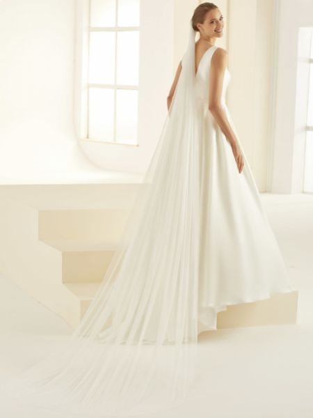 Bianco Single Tier Glitter Tulle Cathedral Veil S362
