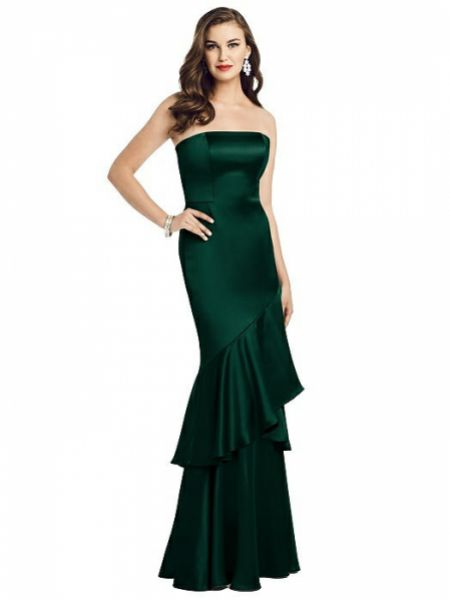 Dessy Collection Strapless Tiered Ruffle Trumpet Gown 3057