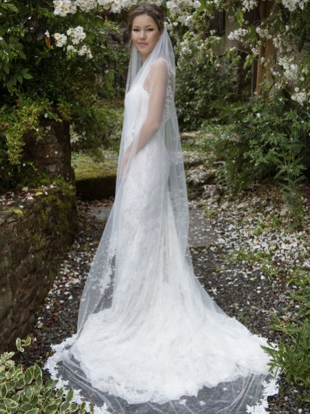 Joyce Jackson Alice Springs Single Tier Pearl Edge Veil with Lace Motifs