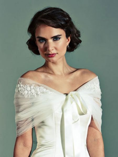 Joyce Jackson Etna Tulle Bridal Wrap with Floral Motifs