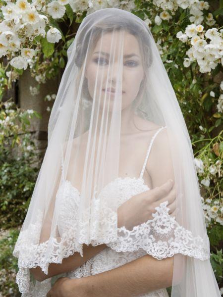 Joyce Jackson Knightsbridge Two Tier Beaded Lace Edge Veil