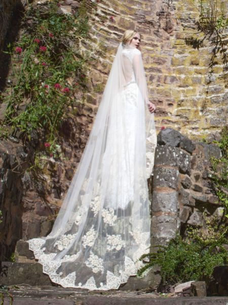Joyce Jackson Windsor Single Tier Veil with Beaded Lace Motifs and Edging