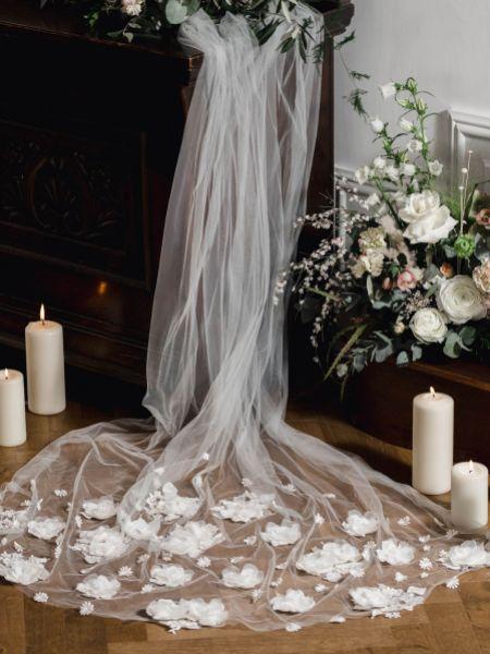 Linzi Jay Ivory Single Tier Chapel Veil with 3D Flowers LA614