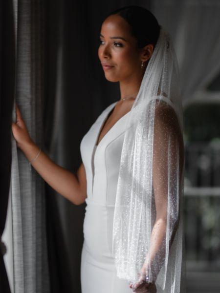 Linzi Jay Sparkly Tulle Single Tier Bridal Veil LA602