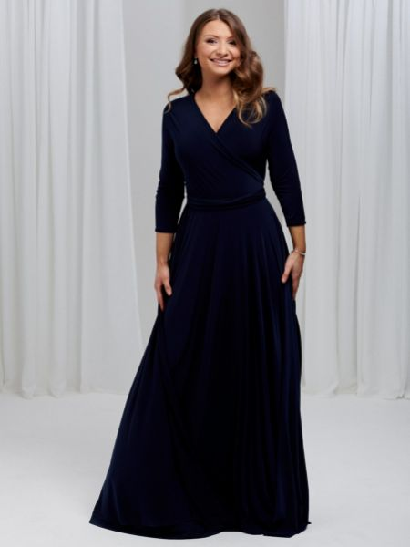Only Way 3/4 Sleeve Wrap Bridesmaid Dress