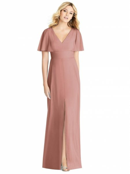 Social Ruffle Sleeve V-Neck Bridesmaid Dress with Front Slit 8188