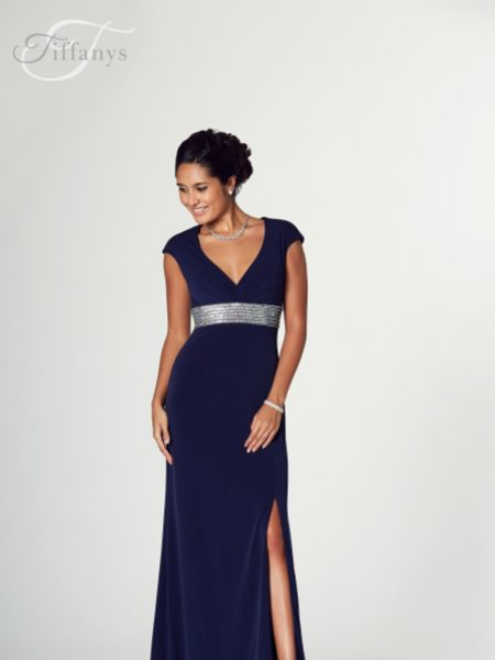 Tiffanys Illusion Prom Lois Jersey Prom Dress with Sequin Waist Band