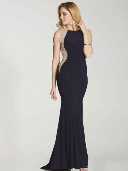 Tiffanys Illusion Prom Mila Jersey Fitted Prom Dress with Sheer Beaded Cut Out Detail