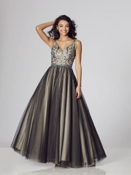 Tiffanys Illusion Prom Rosie-Anne Beaded Ball Gown Prom Dress with Low Back